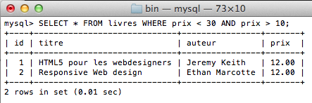 MySQL pour les débutants - Utilisations d'autres opérateurs