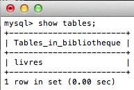 MySQL pour les débutants - show tables;