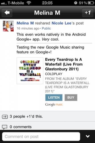 Retour sur l'annonce du Google Music Store : description, chiffres... - Partage sur Google+