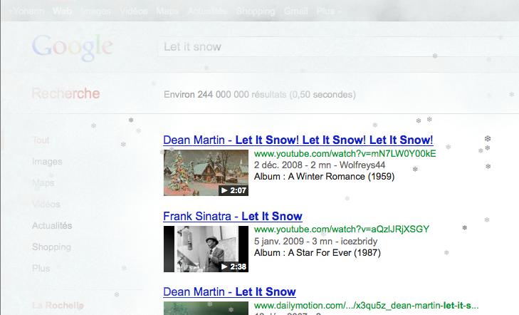 Retrouvez tous les Easter Eggs de Google - Let it snow