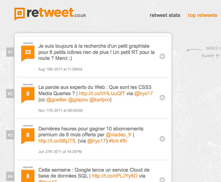 Retweet, connaître le nombre de retweet d'un de vos tweet - Top Retweets
