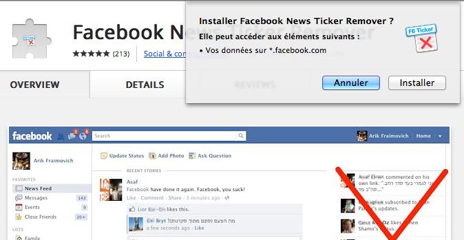 Trois extensions Chrome pour vous permettre de revenir à 'l'ancien Facebook' - Facebook News Ticker Remover