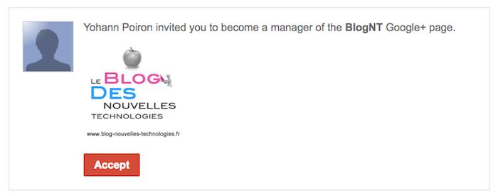 Comment ajouter des administrateurs sur une page Google+ - Mail de confirmation