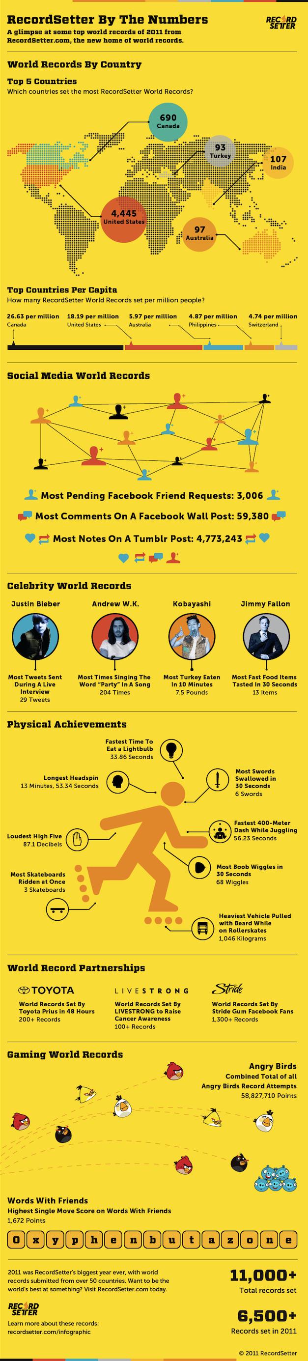 Des records du monde pour les médias sociaux en 2011