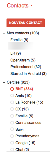 Google Contacts intégre désormais vos contacts Google+ - Cercles dans Google Contacts