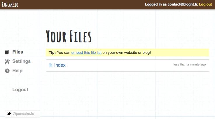 Héberger une page Web sur Dropbox avec Pancake.io - Liste des fichiers dans Pancake.io