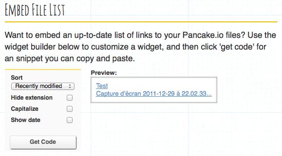 Héberger une page Web sur Dropbox avec Pancake.io - Options de partage d'un fichier