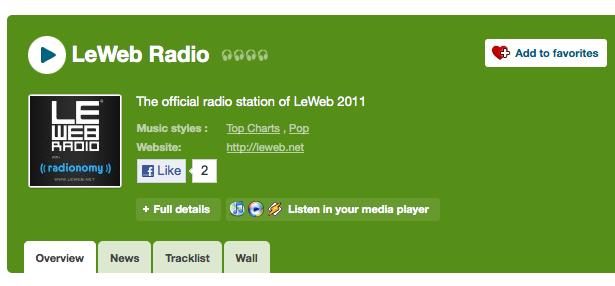 LeWeb'11 : Début de l'événement dans la soirée... - LeWeb diffusé sur Radionomy