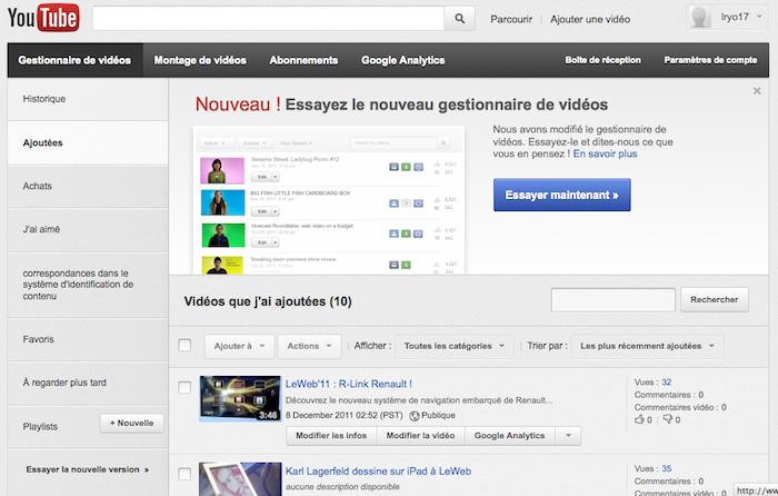 Nouvelle interface pour la gestion des vidéos sur Youtube - Essayer maintenant