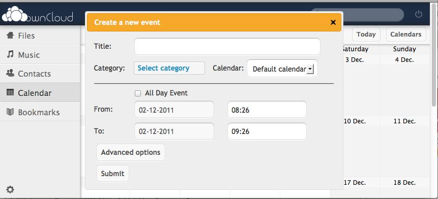 ownCloud, un concurrent Open Source à Dropbox et Box.Net - Gestion de l'agenda et des événements