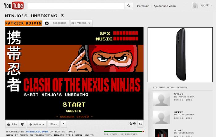 Une page Youtube qui se transforme en jeu 8bit pour la sortie du Galaxy Nexus - Ninja Unboxing 3 sur Youtube