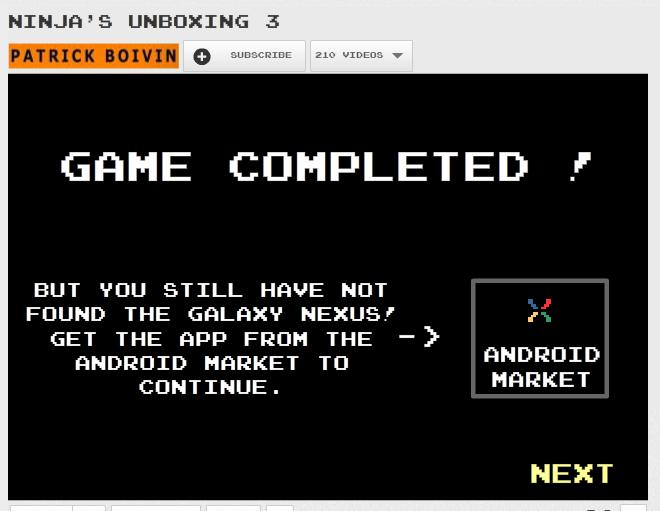 Une page Youtube qui se transforme en jeu 8bit pour la sortie du Galaxy Nexus - Fin du jeu Youtube