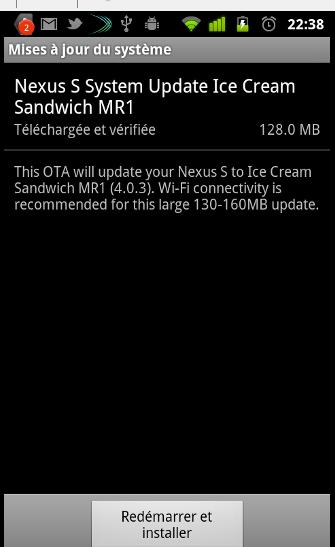 Votre Nexus S sous Android Ice Cream Sandwich dès aujourd'hui !