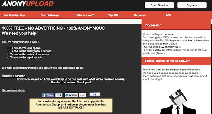 Anonyupload plus de détails par son créateur sur ce mystérieux service remplaçant de Megaupload