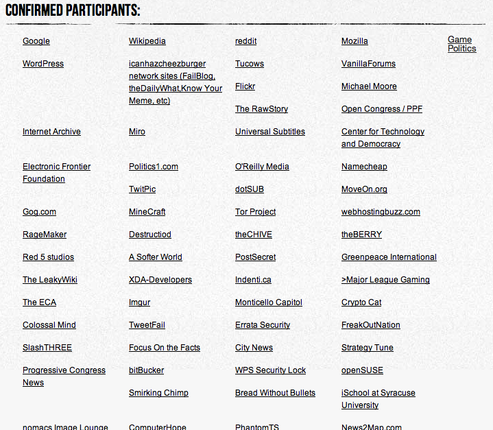 De nombreux sites protestent contre SOPA