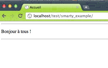 Introduction au framework Smarty - Test d'affichage Smarty
