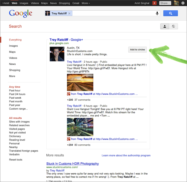 La recherche Google est de plus en plus sociale avec l'arrivée de Google+ - Profils de recherche