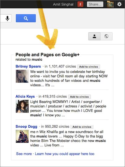 La recherche Google est de plus en plus sociale avec l'arrivée de Google+ - Personnes et Pages Google+