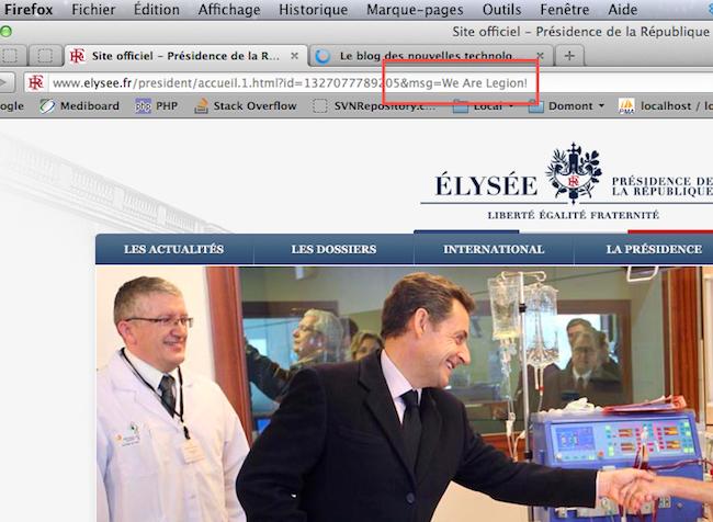 Les Anonymous s'en prennent au site elysee.fr
