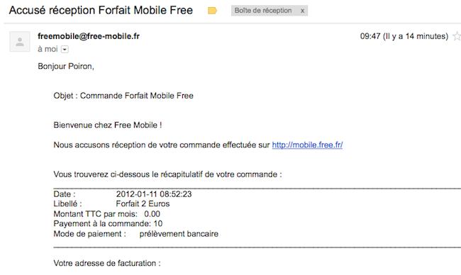 mobile.free.fr : les différentes étapes pour s'inscrire à Free Mobile - Mail de validation