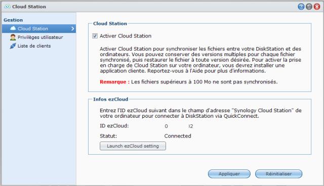 Présentation du nouveau DSM4 de Synology - Cloud Station Paramètrage