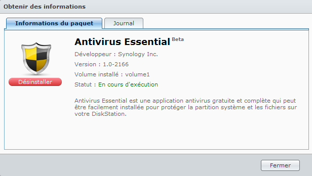 Présentation du nouveau DSM4 de Synology - Antivirus Essential Informations