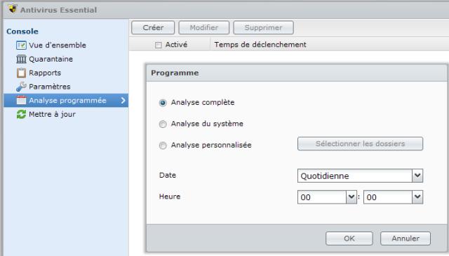 Présentation du nouveau DSM4 de Synology - Antivirus Essential Programmation d'analyse