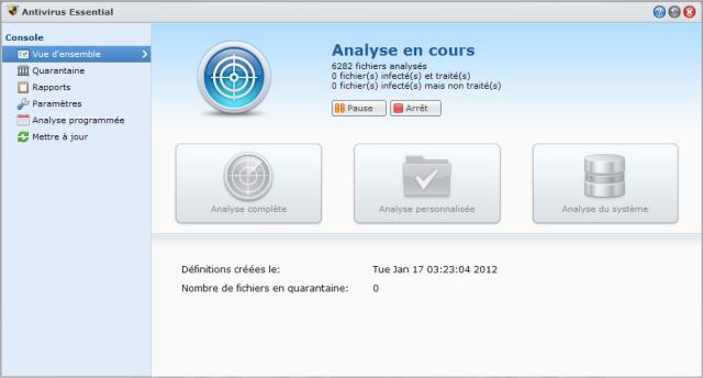 Présentation du nouveau DSM4 de Synology - Antivirus Essential Analyse système