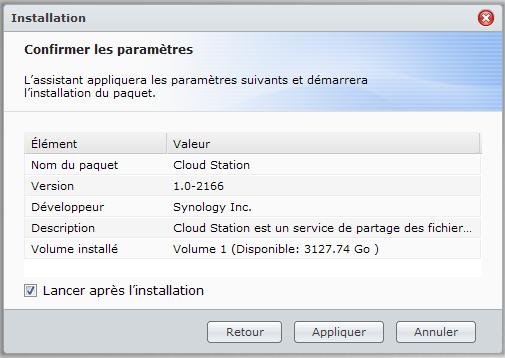 Votre Cloud personnel avec votre NAS Synology et le DSM4 - Package Cloud Station Installation