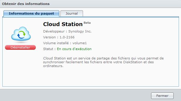 Votre Cloud personnel avec votre NAS Synology et le DSM4 - Package Cloud Station Informations