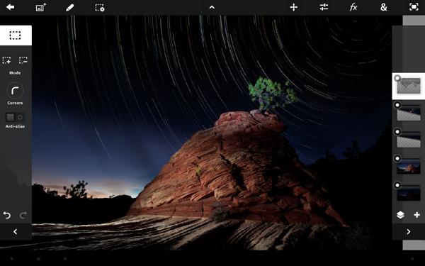 Adobe Photoshop Touch pour iPad : l'avenir de la création de contenu ? - Vue de l'application