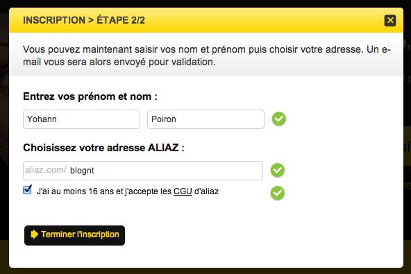 Aliaz, votre identité numérique au sein d'un même service - Création de votre compte