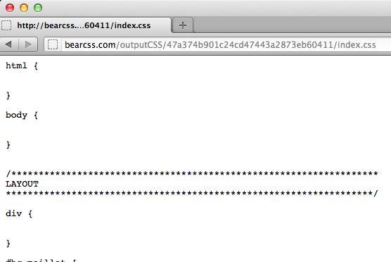 Bear CSS vous aide à créer un template CSS grâce à l'HTML - Résultat de génération du CSS