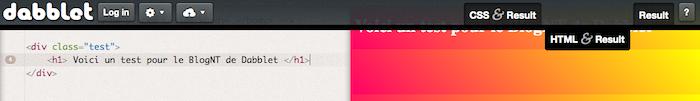 Dabblet, un outil interactif pour tester rapidement du code CSS et HTML - Barre d'outils HTML