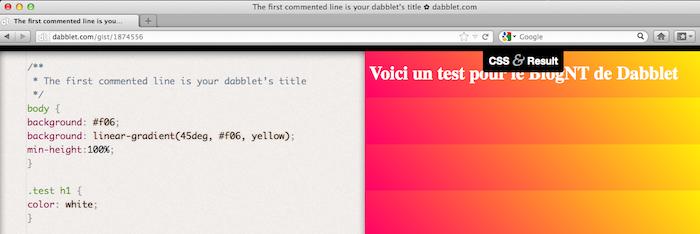 Dabblet, un outil interactif pour tester rapidement du code CSS et HTML - Barre d'outils CSS