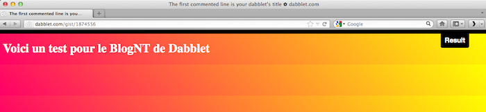 Dabblet, un outil interactif pour tester rapidement du code CSS et HTML - Test d'intégration