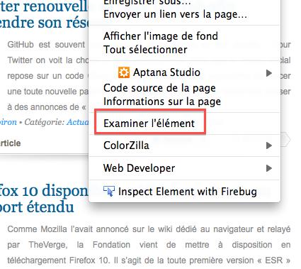 Firefox ajoute des outils de développement - Examiner l'élément
