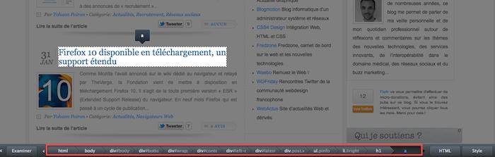 Firefox ajoute des outils de développement - Sélection d'un élément