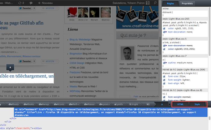 Firefox ajoute des outils de développement - Affichage de la DOM et CSS
