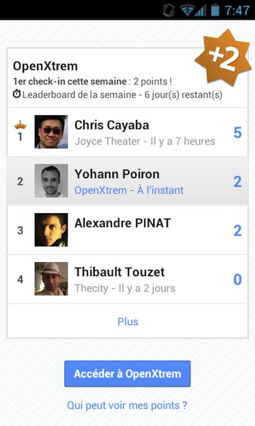 Google Leaderboards arrive sur Latitude, et prochainement sur Google+ ? Foursquare en danger ? - Classement des check-ins