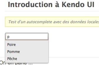 Introduction à Kendo UI - Affichage de l'autocomplete