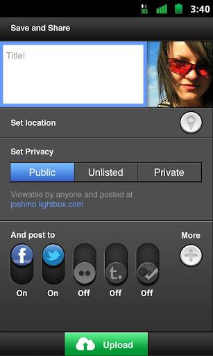 Lightbox pour Android, une alternative très sérieuse à Instagram - Partage d'une photo