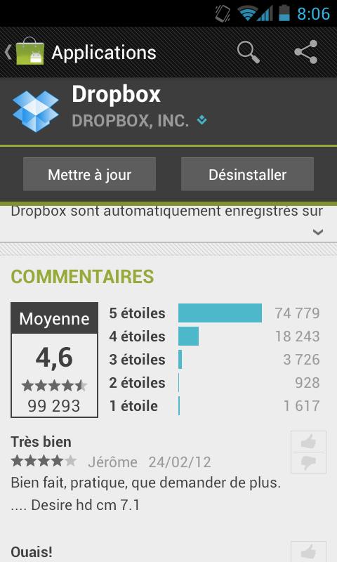 Récupérer de nouveau 3 Go d'espace de stockage sur votre Dropbox - Mise à jour de l'application Dropbox sous Android