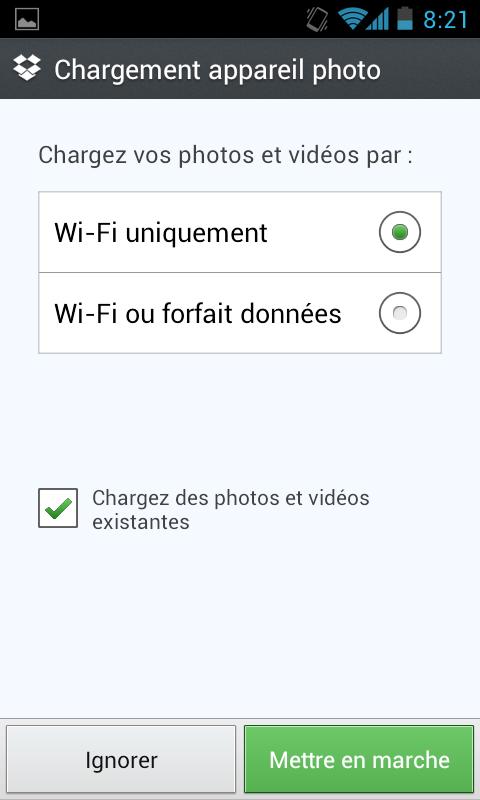 Récupérer de nouveau 3 Go d'espace de stockage sur votre Dropbox - Choix du type de chargement de vos photos / vidéos