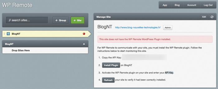 Sauvegarder et maintenir vos multiples installations WordPress avec WP Remote - Ajout de votre site dans WP Remote
