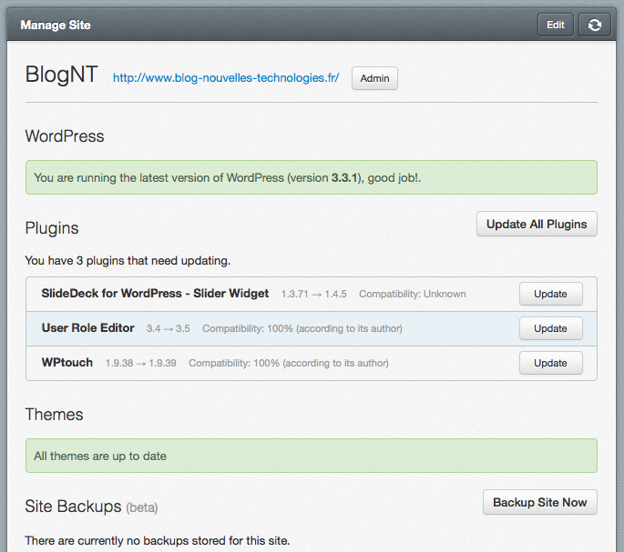 Sauvegarder et maintenir vos multiples installations WordPress avec WP Remote - Interface d'administration