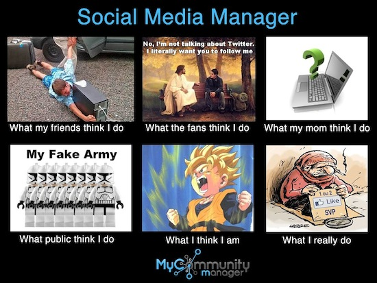 What People Think I Do / What I Really Do - Des images humoristiques sur les métiers du Web - Social Media Manager