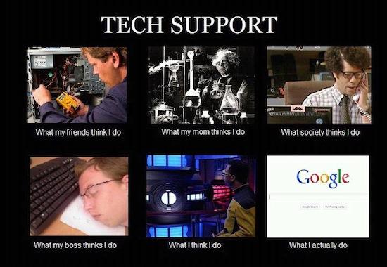 What People Think I Do / What I Really Do - Des images humoristiques sur les métiers du Web - Technicien Support
