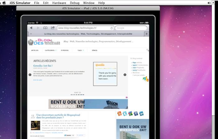 BrowserStack la solution ultime pour tester vos sites / applications Web sur les dispositifs mobiles - Test BlogNT sur iPad 2 iOS 5.0