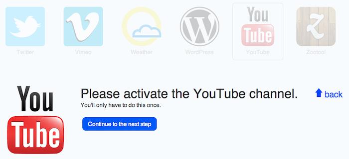 Comment faire pour augmenter votre productivité sur les réseaux sociaux avec ifttt - Activation de Youtube